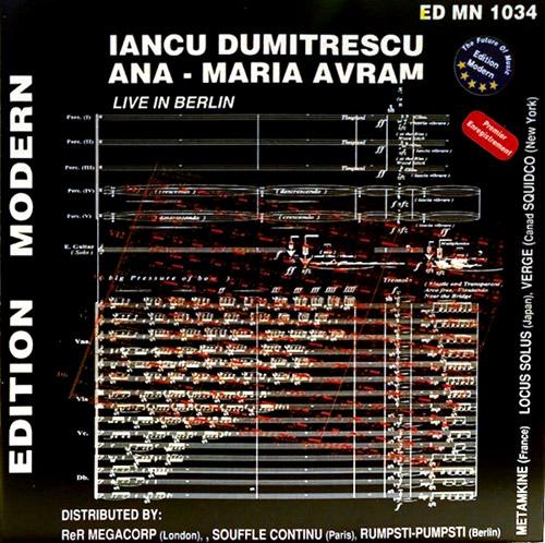 Dumitrescu, Iancu / Ana-Maria Avram: Live In Berlin (Edition Modern)