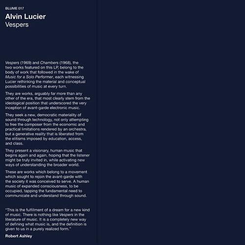 Lucier, Alvin: Vespers [VINYL] (Blume)