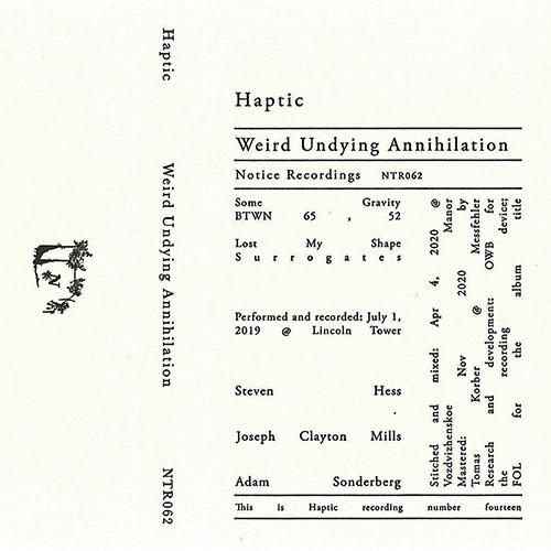 Haptic (Adam Sonderberg / Steven Hess / Joseph Clayton Mills): Weird Undying Annihilation [CASSETTE] (Notice Recordings)