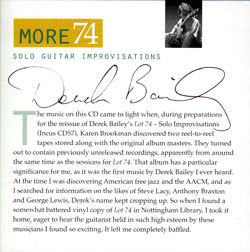 Bailey, Derek: More 74 (Incus)