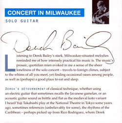 Bailey, Derek: Concert In Milwaukee